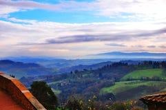 从Val d'Orcia的风景 免版税图库摄影