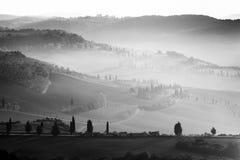 Val d ` Orcia,托斯卡纳,意大利 免版税库存照片