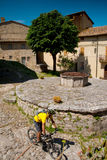 Val d'Orcia, Siena, Tuscany, Italy - Excursion in Mountain Bike stock photography