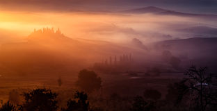 Val d'Orcia in Tuscany, Italy. Sunrise over Val d'Orcia in Tuscany, Italy Royalty Free Stock Photo