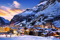 Val d'Isère city Stock Photos
