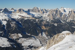 Val di fassa. Fassa valley in winter from air Royalty Free Stock Image
