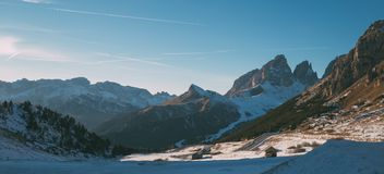 Val Di Fassa Dolomit krajobraz, widok od Passo Pordoi Obraz Stock