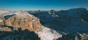 Val Di Fassa Dolomit krajobraz, widok od Sass Pordoi szczytu Obrazy Stock