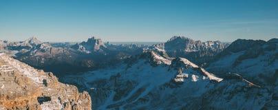 Val di Fassa Dolomites landscape, view from Sass Pordoi Peak. Dolomites- mountain landscape, Val di Fassa, view from Sass Pordoi Peak Royalty Free Stock Photo