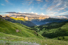 Val di Fassa from Passo Sella, Dolomites, Italy Stock Photo