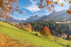Val di Funes in den Dolomit an einem sonnigen Tag des Herbstes mit farbigen Bäumen, Blättern und Bergen, Trentino Alto Adige, Ita Stockbilder