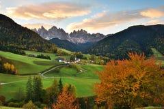 Val di Funes, dolomia, Italia Fotografie Stock