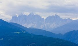 Val di Funes and Seceda Odle peak. In Dolomites, Italy Alps Stock Photography