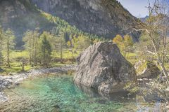 Val di Mello- North Italy. A view of famous Val di Mello in the italian alps, details of a little river with beautiful turquoise colors royalty free stock image
