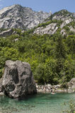 Val di Mello, Val Masino, Valtellina, Sondrio, Italy, Europe. Italy, 03/08/2017: a rock in the creek called the Bidet of the Countess in Val di Mello, green royalty free stock images
