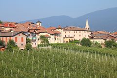 Val di Non. Valley in province of Trento, Italy. Revo town and apple orchards Stock Image