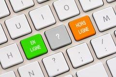 Val för En Ligne eller Hors Ligne i franskt på tangentbordet Royaltyfri Fotografi