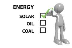 Val för sol- energi Arkivfoto
