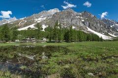 Val Ferret nel paesaggio di primavera Fotografia Stock