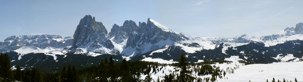 Val gardena. Panoramic view of the mountains Stock Image