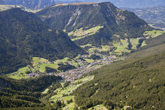 Val Gardena and Ortisei, Dolomites, view from a mountain Stock Image