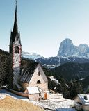 Val Gardena san giacomo. Church in the mountain in Trentino Alto adige Royalty Free Stock Photography