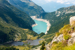 Val Ghilarda and Lago d'Arno - Lombardy Italy. Ghilarda Valley and Lake of Arno (man-made lake) seen from Campo pass. Adamello, Lombardy, Italy Stock Photo
