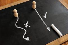 Val mellan invecklat och enkelt Höger och fel strategi arkivfoton