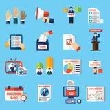 Val och plan symbolsuppsättning för röstning royaltyfri illustrationer