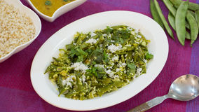 Val Papdi Bhaji or Flat Green Beans Sabji from Goa. Royalty Free Stock Image