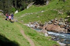 Val passiria trekking in Trentino Alto Adige. Family hiking in Val passiria Trentino Alto Adige stock images