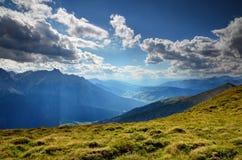 Val Pusteria valley summer landscape Alto Adige Sudtirol Italy. Summer panorama of Val Pusteria Pustertal and Valle di Sesto Sextental valleys, Sesto Dolomiti stock photo