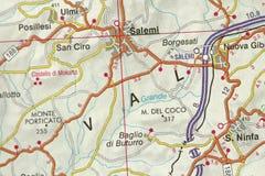 Val Salemi. Map. The islands of Sicily, Italy. Va Salemi. Map. The islands of Sicily, Italy royalty free stock photos