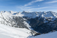 Val San Nicolo'. A landscape winter view of val San Nicolo' from the top of Buffaure skiing resort. During the winter months the valley is accessible only on Royalty Free Stock Photography