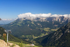 Val  San Pellegrino. Summer view of San Pellegrino Valley with Monzoni mountain in val di Fassa, Italian dolomites. Photo taken with polarized filter Stock Image