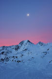 Val senales in italy sunrise. Sun rise in val senales, trentino in italy, mountain view and pink sunrise with the moon royalty free stock photos