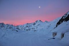 Val Senales uchodźcy zima w Włochy Fotografia Stock