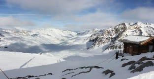 Val Senales vinter i Italien Arkivfoton