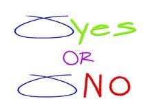Val som cirklas med JA och inga alternativ Royaltyfri Bild