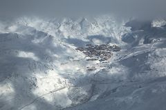Val Thorens ski resort in the distance Royalty Free Stock Photo