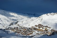 Val Thorens, France. Down the mountain above Val Thorens,  in France Stock Photos