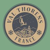 Val Thorens in France, ski resort. Abstract stamp or emblem with the name of town Val Thorens in France, ski resort, vector illustration Stock Photography