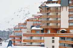 Val Thorens after heavy snowfall. Buildings covered after heavy snowfall. Val Thorens, France Stock Image