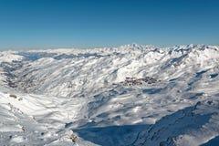 Val Thorens, Les Menuires e Mont Blanc da CIME Caron Fotografia Stock