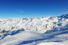Val Thorens and Les Menuires from  La Masse Stock Images