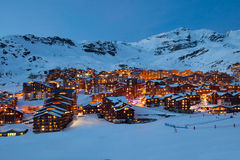 Val Thorens by night Stock Photos