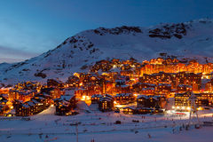 Val Thorens by night Royalty Free Stock Image