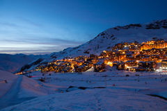 Val Thorens by night Royalty Free Stock Photography