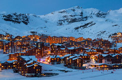 Val Thorens by night. Panorama of Val Thorens by night, Alps mountains, France Royalty Free Stock Images
