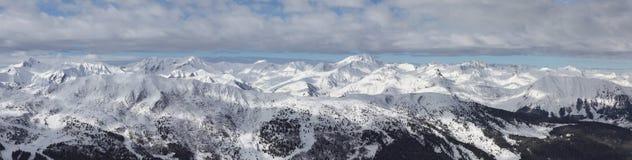 Val Thorens, panorama dell'intervallo di montagna Immagini Stock Libere da Diritti