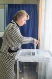 Val till den statliga Dumaen från den ryska federationen 18 September 2016 i den Kaluga regionen Arkivbilder