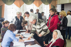 Val till den statliga Dumaen från den ryska federationen 18 September 2016 i den Kaluga regionen Fotografering för Bildbyråer