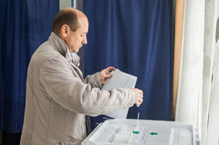 Val till den statliga Dumaen från den ryska federationen 18 September 2016 i den Kaluga regionen Arkivfoton