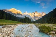 Val Veneggia, dolomia, Italia Fotografia Stock